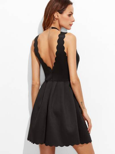 Black Scallop Edge V Back Box Pleated Dress
