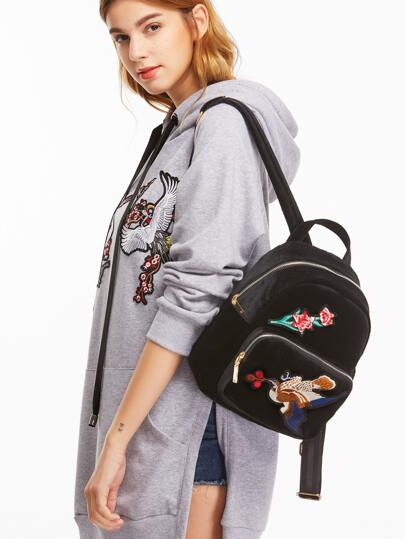 Black Bird Embroidered Pocket Front Velvet Backpack