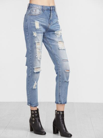 Blue Ripped Bleached Ankle Jeans