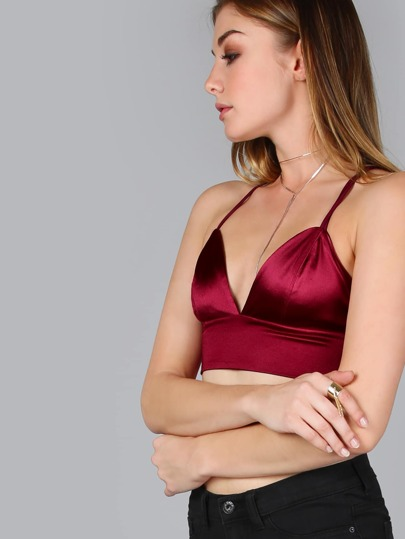 Burgundy Strappy Back Triangle Plunge Cami Top