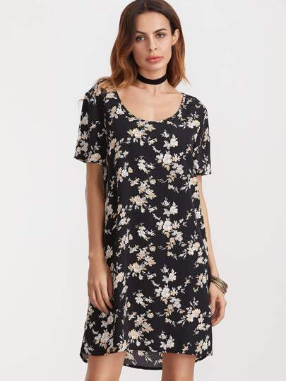 Black Florals Shift Dip Hem Dress
