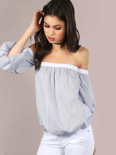 Striped Bardot Tullip Top WHITE BLUE