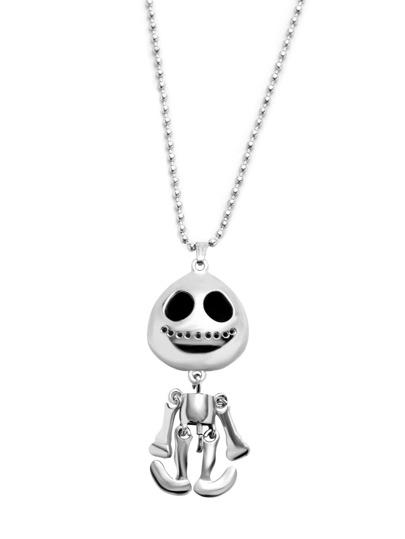 Collier pendentif squelette mobile -argenté