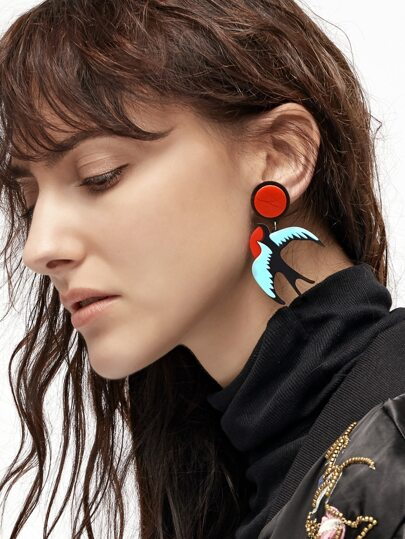Multicolor Swallow Desgin Statement Earrings