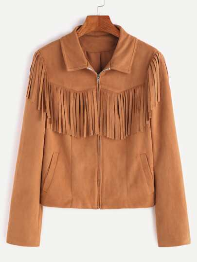 Camel Suede Zip Up Fringe Jacket