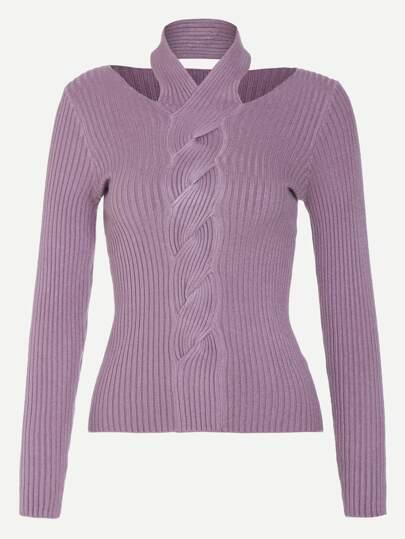 Pull tricoté côtelé entortillé - violet