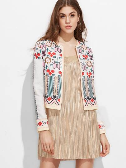 Multicolor Geometric Print Collarless Jacquard Jacket