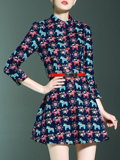 Navy Horses Print Belted Dress