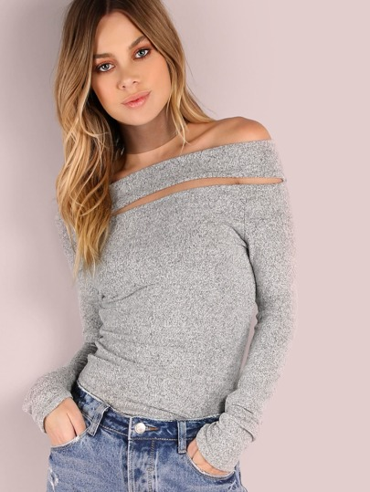 Brushed Off Shoulder Top HEATHER GREY