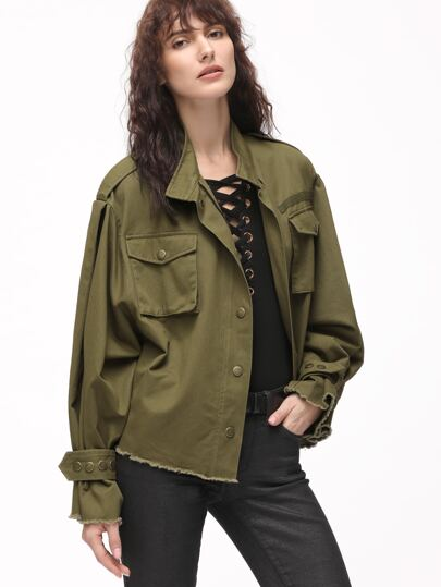 Olive Green Belted Cuff Frayed Trim Hidden Zip Jacket