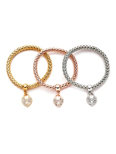 Three-colour Gem Inlay Heart Charm Bracelet