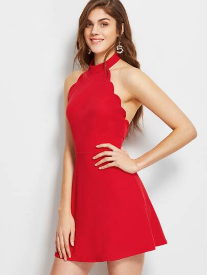 Halter Neck Backless Scallop Skater Dress