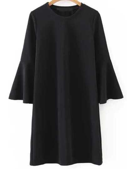 Black Round Neck Bell Sleeve Shift Dress