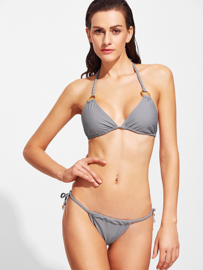 Grey Ring Detail Braided Strap Triangle Bikini Set