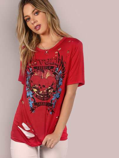 Revolt Skull Graphic Burn Tee