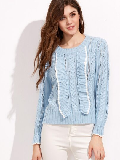 Sky Blue Hollow Ruffle Trim Cable Knit Sweater