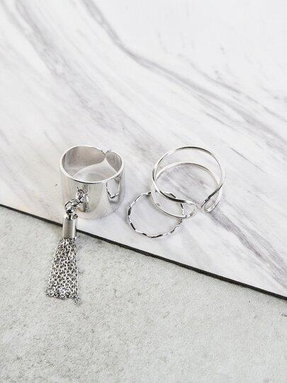 Metallic Fringe Ring Set SILVER