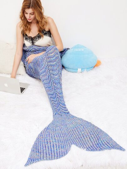 Lyons Blue Fish Scale Textured Knit Mermaid Blanket