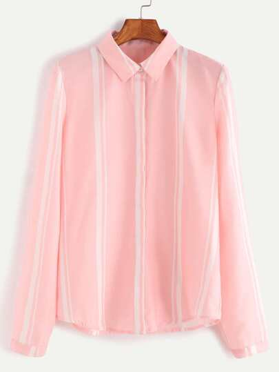 Pink Vertical Striped Hidden Button Blouse