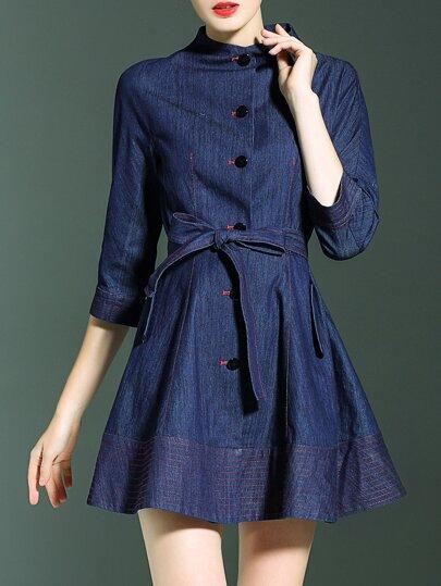 Robe ligne A en jean taille-cravate -bleu