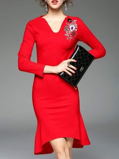 Robe à col V avec pièce sur épaule -rouge