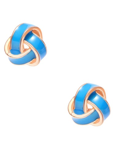 Gold Tone Blue Twining Modelling Stud Earrings