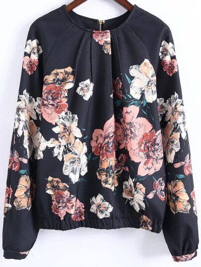 Black Floral Print Casual Blouse