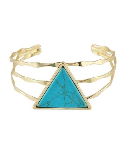 Brazalete abierto con piedra en forma triángulo - azul
