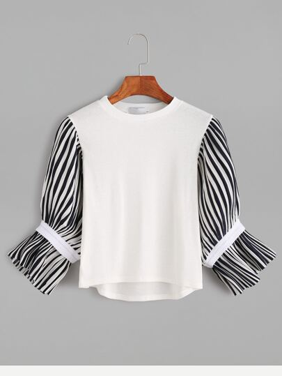 White Contrast Striped Sleeve High Low T-shirt