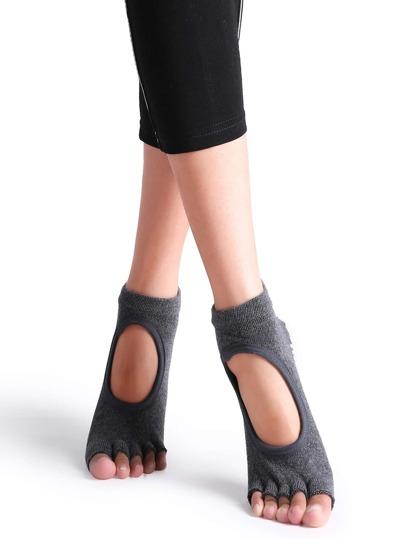 Calcetines antideslizantes con puntera abierta - gris