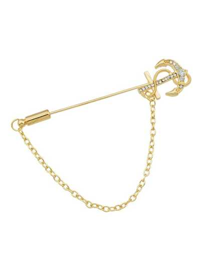Broche avec chaîne longue épingle plaqué or