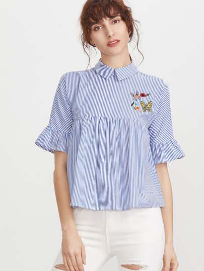 Pinstripe Pointed Collar Ruffle Sleeve Embroidered Babydoll Top