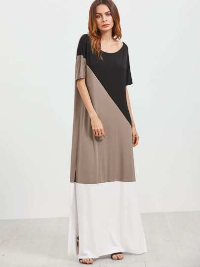 Color Block Scoop Neck Side Slit Maxi Dress