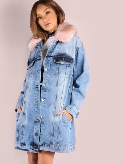 Collared Fur Longling Denim Jacket PINK