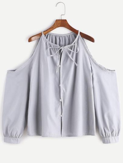 Grey Cold Shoulder Tie Neck Button Top