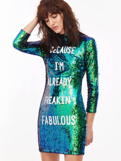 Green Sequin Letter Print Bodycon Dress