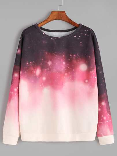 Ombre Galaxy Print Drop Shoulder Sweatshirt