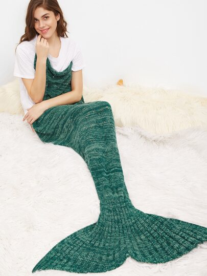 Green Marled Knit Eyelet Mermaid Tail Blanket