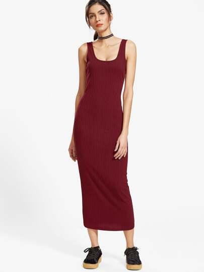 Burgunder-Rippenstrick-Doppel-Ausschnitt-Behälter-Kleid