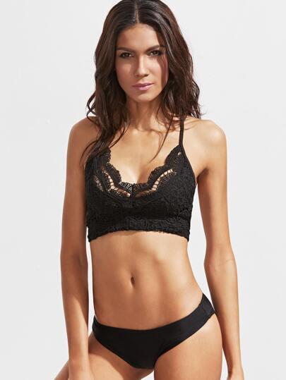 Top bikini con encaje espalda cruzada - negro