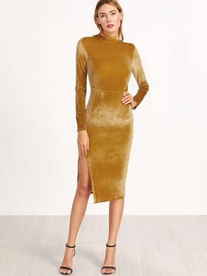 Mustard Mock Neck Split Side Velvet Sheath Dress