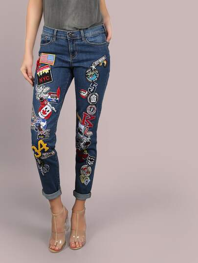 All Patched Up Boyfriend Jeans DENIM