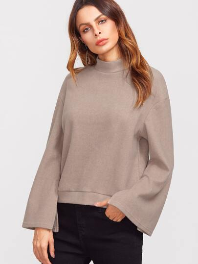 Khaki Mock Neck Drop Shoulder Split Sleeve Sweatshirt