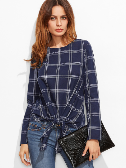Navy Grid Knot Front Long Sleeve Top