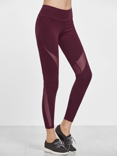 Burgundy Wide Waistband Mesh Insert Leggings