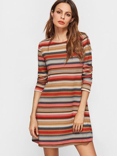 Multicolor Striped Long Sleeve A Line Dress