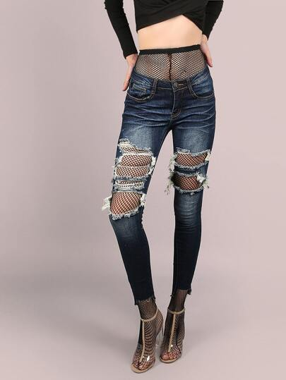 Destroyed Dark Washed Raw Cut Dip Hem Skinny Jeans DARK DENIM
