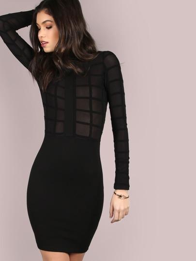 Mesh Grid Turtleneck Dress BLACK
