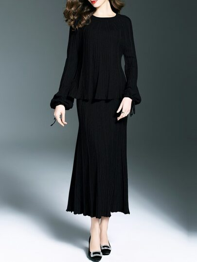 Black Knit Top With Pleated Skirt