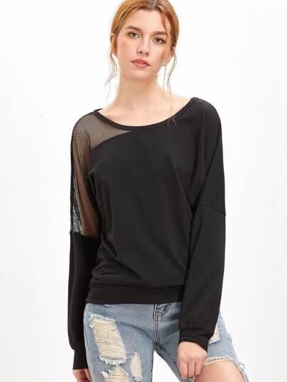 Sweat-shirt asymétrique à l'épuale réseau -noir